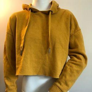 Mustard yellow Charlotte Russe cropped hoodie